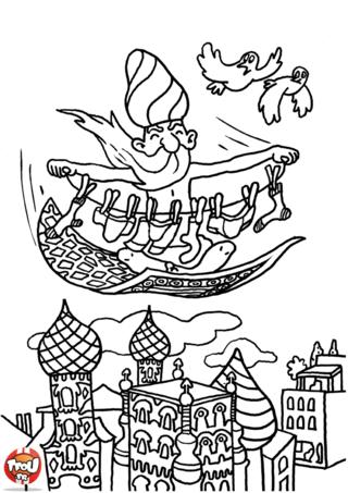Coloriage: Magicien sur tapis volant