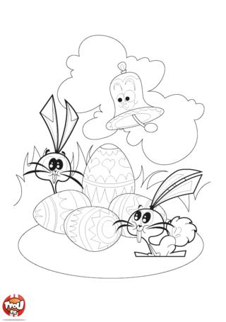 Coloriage : TFou te souhaite de joyeuses Pâques ! Ils sont tous réuni sur ce drôle de coloriage : oeufs, lapins et cloche, pour fêter Pâques sur le site TFou.fr. La cloche annonce l'arrivée des oeufs en chocolat dans le jardin et les lapins bien curieux viennent en courant voir s'ils ne peuvent pas en manger un petit bout avant la découverte des enfants. Vite imprime-ce coloriage de Pâques avec ces 4 beaux oeufs en chocolat avant les 2 lapins ne les mangent !