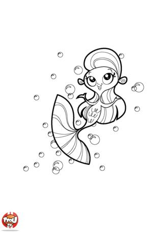 Coloriage: Sirène et bulles