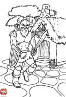 Chevalier dans le village