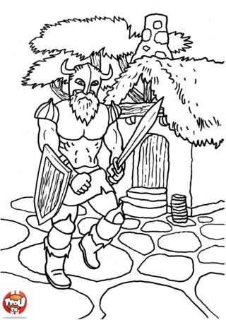 Coloriage: Chevalier dans le village
