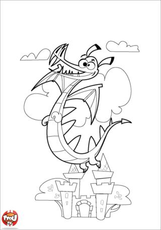 Coloriage: Dragon et château