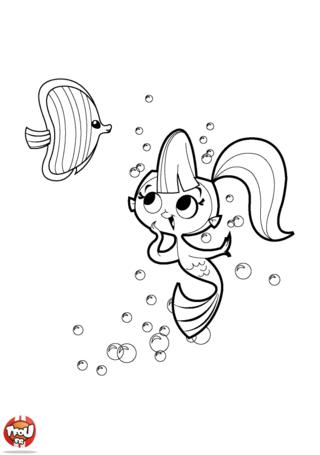 Coloriage: Sirène et poisson