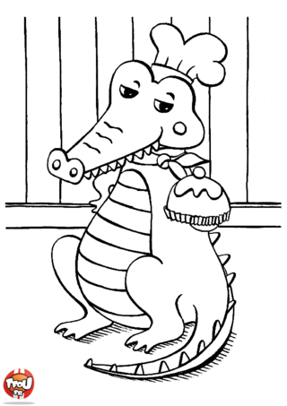 Coloriage: Gourmand ce crocodile
