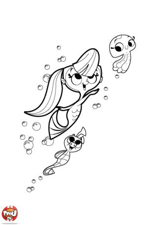 Coloriage: Sirène, méduse et hippocampe