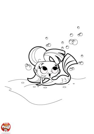 Coloriage: Sirène au fond de l'eau