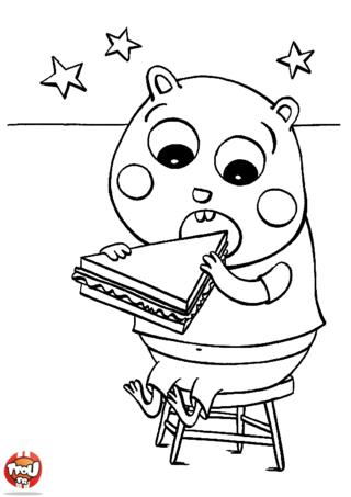 Coloriage: Hamster mange son sandwich
