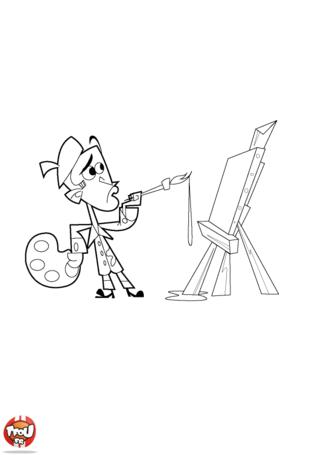 Coloriage: Le peintre devant son tableau