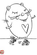 Hamster fait du patins à roulettes