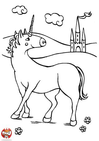 Coloriage: La licorne devant le château