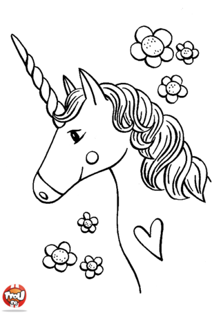 Coloriage: La licorne du coeur