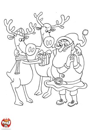 Coloriage: Père noël et ses rennes
