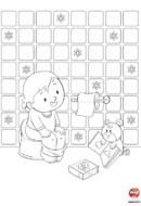 Coloriage bébé sur son pot