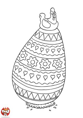 Coloriage: Poule posé sur 1 oeuf