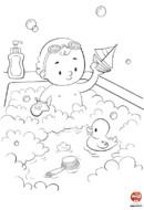 Coloriage bébé prend son bain