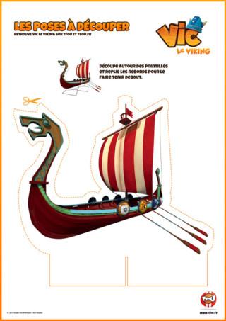 Activité : Imprime vite ton Drakkar de Vic le Viking. Découpe autour des pointillés et replie les rebords pour le faire tenir debout ...