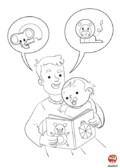 papa lit une histoire à bébé