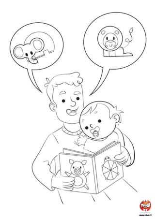 Découvre ce super coloriage à imprimer pour enfant sur TFou.fr ! Dans ce coloriage, le bébé écoute sagement une histoire que lui lit son gentil papa. Installé confortablement au creux de son bras et suçant paisiblement sa tétine, il découvre les aventures de tous ses animaux préférés comme le lion et l'éléphant. Si toi aussi tu aimes les animaux et écouter ton papa te raconter des histoires, prends tes crayons et amuse-toi vite !