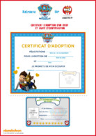 Certificat adoption - Paw Patrol