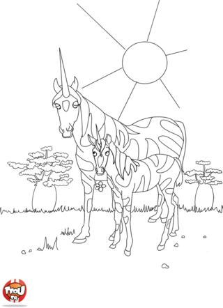 Coloriage: Licorne avec son petit