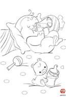 Coloriage-Bébé mange