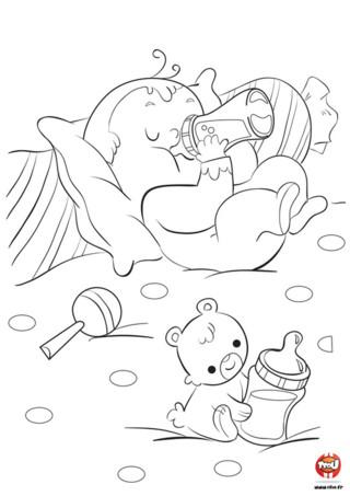 Bébé a faim et il a besoin de son biberon pour bien grandir. Ça tombe bien car il adore son biberon. Son ami le petit ourson lui aussi a une petite faim, il a son biberon entre les pattes et s'apprête à faire comme bébé. Ce sont de vrais petits gloutons ces deux-là. Toi aussi tu es un glouton ? Tu aimes les coloriages de bébé ? Va sur TFou.fr et imprime ce magnifique coloriage de bébé et plein d'autres. A tes crayons !