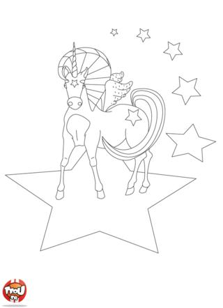 Coloriage: Licorne et étoiles