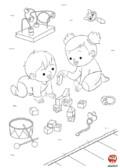 Coloriage-Bébé joue avec une amie