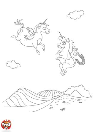 Coloriage: Deux petites licornes
