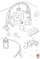 Coloriage-Bébé joue avec ses jouets