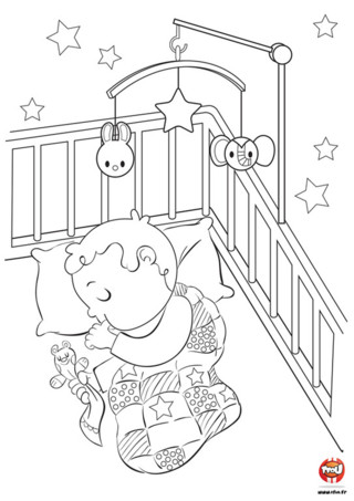 Coloriage b b qui dort meilleures id es coloriage pour - Dessin chambre bebe ...