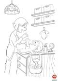 Coloriage- Maman change bébé