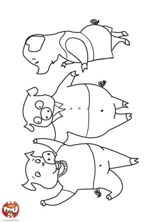 Coloriage: Les 3 petits cochons