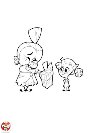 Fais plaisir à ta mamie pour la fête des grand-mères en imprimant et coloriant ce dessins. Cet enfant pense aussi fort à sa mamie en lui offrant un cadeau. Bonne fête mamie !