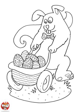 Coloriage : ce lapin attendait Pâques avec impatience. Il a été dans le jardin faire la chasse aux oeufs et il a déjà ramassé tous ses chocolats. Regarde comme son panier est rempli ! Quel gourmand ce lapin de Pâques ! Toi aussi, tu vas adorer fêter Pâques sur TFou.fr. Imprime gratuitement ce joli coloriage de Pâques sur TFou.fr et colorie-le comme tu le souhaites ! Découvre également tous les coloriages gratuits pour Pâques sur TFou.fr !
