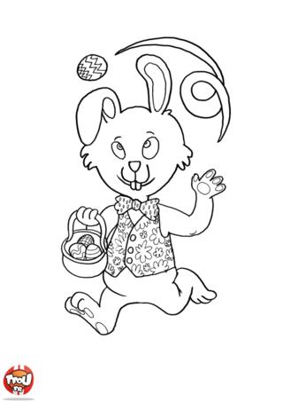 Coloriage : Tu aimes jouer avec tes amis et ta famille le jour de Pâques ? Alors ce coloriage spécial vacances de Pâques est fait pour toi ! Imprime-le gratuitement sur TFou.fr pour t'amuser en famille et avec tes amis. Viens vite jouer avec ce super lapin qui est de très bonne humeur aujourd'hui. Il vient de trouver des tonnes oeufs en chocolats qui ont été cachés pour Pâques. Tu pourras jongler avec lui et ses chocolats de Pâques ! N'attends plus et imprime ce super coloriage de lapin jongleur de Pâques sur TFou.fr !