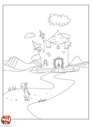 Coloriage: Petit poucet au château