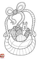 Les oeufs de Pâques dans le panier