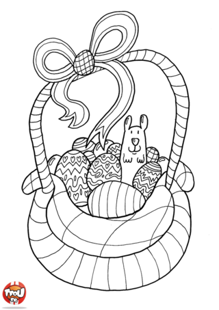 Coloriage : Tu adores les vacances de Pâques ?! Alors ce coloriage de Pâques est fait pour toi ! Imprime gratuitement ce coloriage spécial fête de Pâques sur TFou.fr. Tu aimes ramasser les oeufs en chocolat de Pâques qui sont cachés un peu partout ? Alors tu vas adorer colorier ce super coloriage de Pâques selon tes envies. Utilise tes plus beaux crayons de couleur pour le décorer selon tes goûts. Tu pourras offrir ce beau coloriage de panier plein de chocolat avec une jolie petite souris à ta famille pour fêter Pâques avec TFou.fr