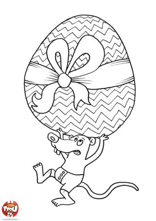 Coloriage : Toi aussi tu es en vacances de Pâques ? Alors dépêche-toi d'imprimer gratuitement ce beau coloriage spécial vacances de Pâques sur TFou.fr ! Rejoins la petite souris dans ses aventures exceptionnelles avec son énorme oeuf de Pâques. Aide la petite souris à ramener cet oeuf géant en chocolat de Pâques pour sa famille ! A tes crayons de couleur, c'est à toi de jouer ! Utilise-les pour décorer ce coloriage de Pâques selon tes envies et pour ensuite l'offrir à ta famille avec TFou.fr !