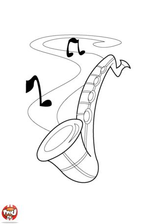 Coloriage: Saxo et notes