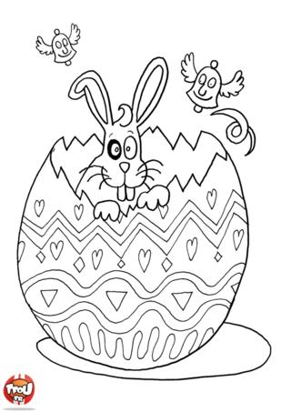 Coloriage : tu adores déguster les chocolats de Pâques ?! Alors ce coloriage est fait pour toi ! Découvre un petit lapin de Pâques qui a été très gourmand cette année. Il a déjà mangé son oeuf géant en chocolat spécial Pâques. Partage ses aventures incroyables en imprimant gratuitement ce coloriage de lapin de Pâques sur TFou.fr. C'est à toi de jouer pour colorier lapin et son oeuf selon tes goûts avec TFou.fr ! Tu vas passer des super vacances de Pâques avec ta famille et tes amis en décorant tous les beaux dessins de TFou.fr !