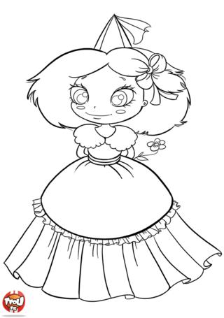 Coloriage: Princesse à la fleur