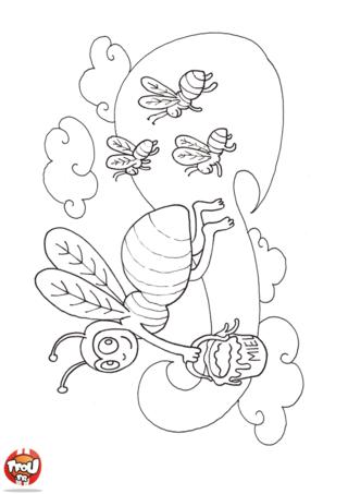 Coloriage: L'abeille ramène du miel