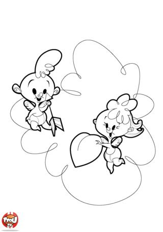 A la Saint Valentin, les petits anges sont heureux ! Ils vont pouvoir réunir les amoureux. Sur TFou.fr, imprime gratuitement le coloriage des Petits Cupidons.