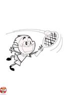 Tennisman en pleine action