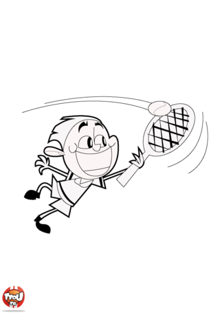 Coloriage: Tennisman en pleine action