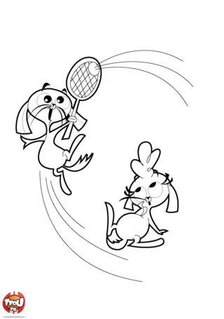 Coloriage: Les lapins au tennis