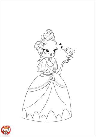 Coloriage: Princesse et oiseau
