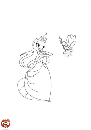 Coloriage: Princesse et fée